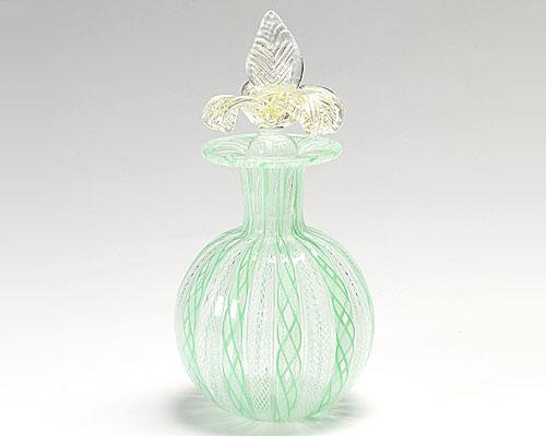 ベネチアガラス バラリン 香水瓶 丸 グリーン×ホワイト