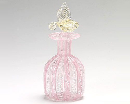 ベネチアガラス バラリン 香水瓶 角 ピンク×ホワイト