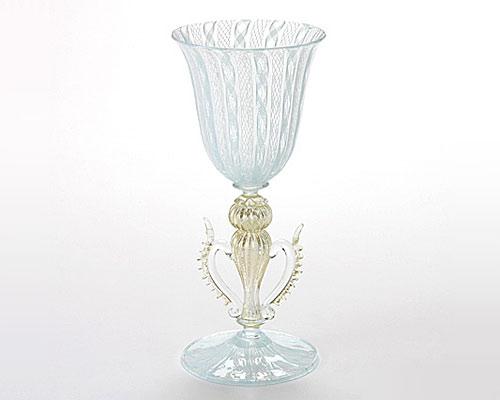 ベネチアガラス ワイングラス 脚飾り付 ターコイズ×ホワイトレース