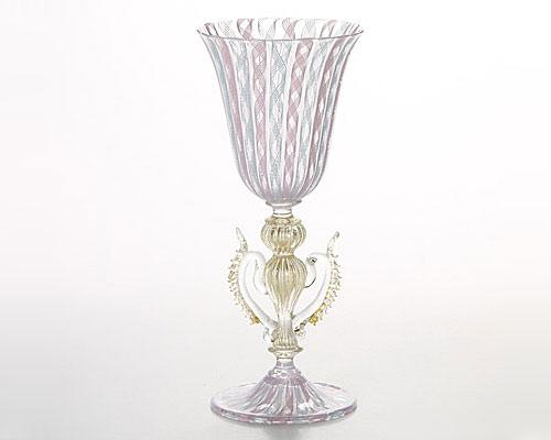 バラリン ワイングラス 脚飾リ付 #4202 ピンク×ターコイズ