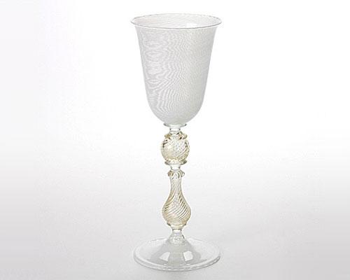 ベネチアガラス ワイングラス ゴールドステム ホワイトフィリグラーナ