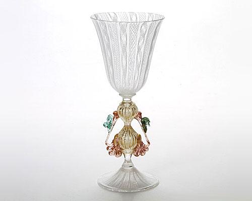 ベネチアガラス バラリン ワイングラス ホワイトレース脚飾 台形