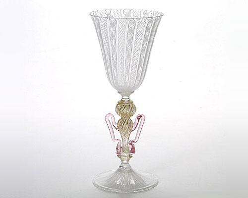 ベネチアガラス バラリン ワイングラス ホワイトレース脚飾 ウィング