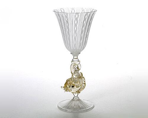 ベネチアガラス バラリン ワイングラス ホワイトレース脚飾 フィッシュ