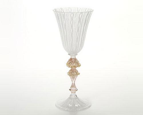 ベネチアガラス バラリン ワイングラス ホワイトレース脚飾 シンプル
