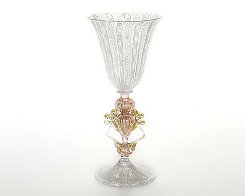 ベネチアガラス バラリン ワイングラス ホワイトレース脚飾 ダイヤ