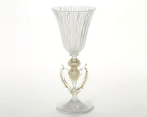 ベネチアガラス バラリン ワイングラス ホワイトレース脚飾 ハート