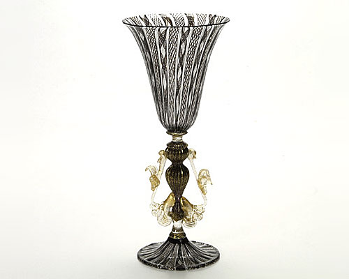ベネチアガラス バラリン ワイングラス ブラックレース脚飾 台形