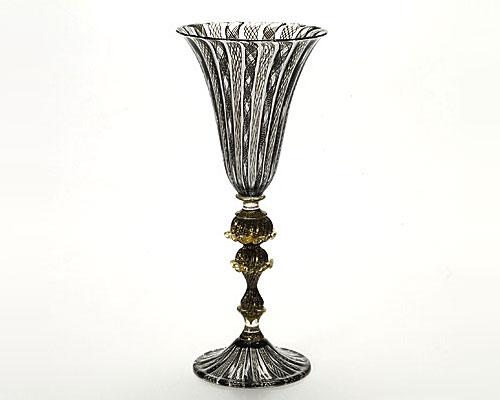 ベネチアガラス バラリン ワイングラス ブラックレース脚飾 シンプル