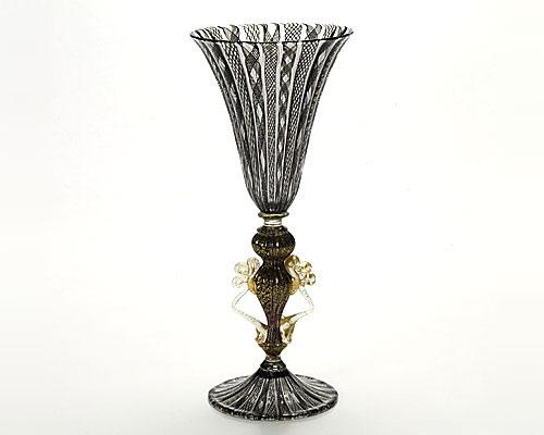 ベネチアガラス バラリン ワイングラス ブラックレース脚飾 ダイヤ