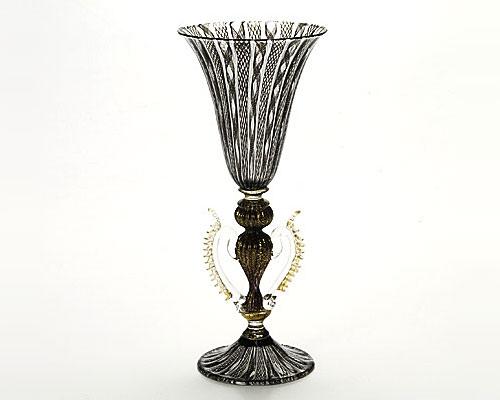 ベネチアガラス バラリン ワイングラス ブラックレース脚飾 ハート