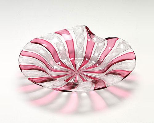 ベネチアガラス バラリン プレート シェル ホワイト×ルビー