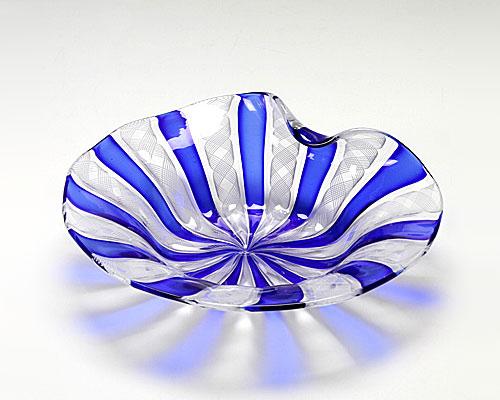 ベネチアガラス バラリン プレート シェル ホワイト×コバルト