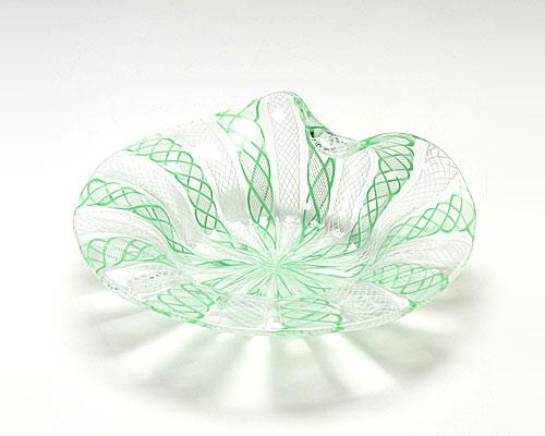 ベネチアガラス バラリン プレート シェル ホワイト×グリーン