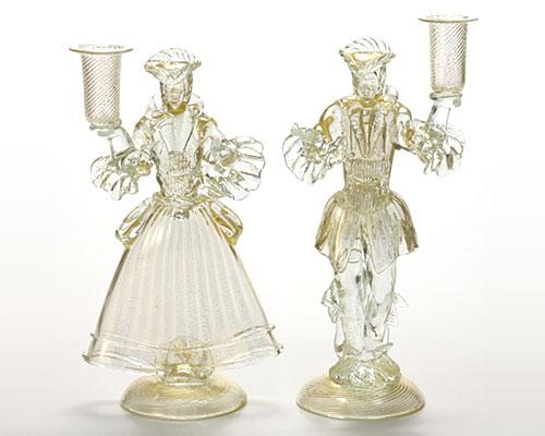 ベネチアガラス バラリン ペアフィギュリン キャンドルホルダー ホワイト×ゴールドレース
