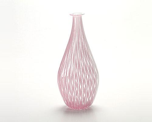 ベネチアガラス バラリン ベース ダブル ホワイト×ピンク