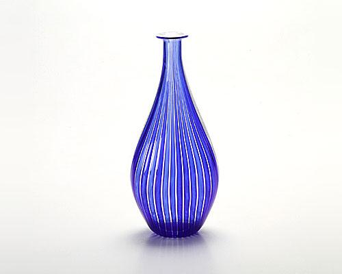 ベネチアガラス バラリン ベース ダブル ホワイト×コバルト