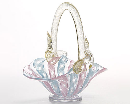ベネチアガラス バラリン バスケット 横型 ピンク×ターコイズ