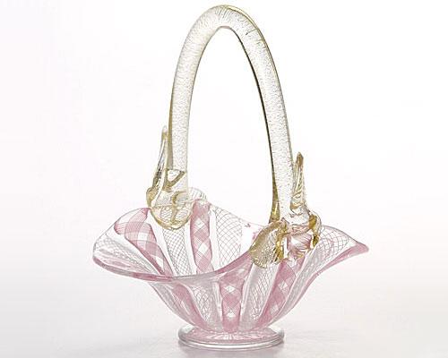 ベネチアガラス バラリン バスケット 横型 ピンク×ホワイト