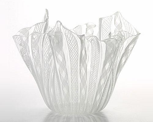 ベネチアガラス バラリン ベース フリル ホワイト