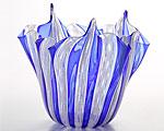 ベネチアガラス バラリン ベース フリル コバルト×ホワイト