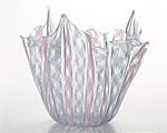 ベネチアガラス バラリン ベース フリル ピンク×ターコイズ