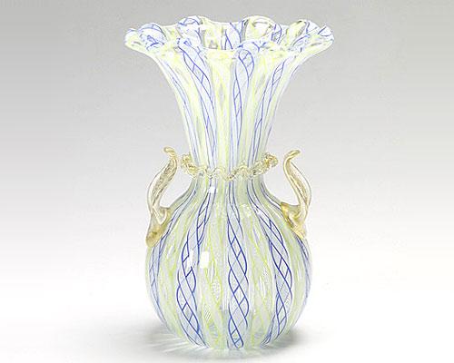 ベネチアガラス バラリン ベース フリル ブルー×イエロー