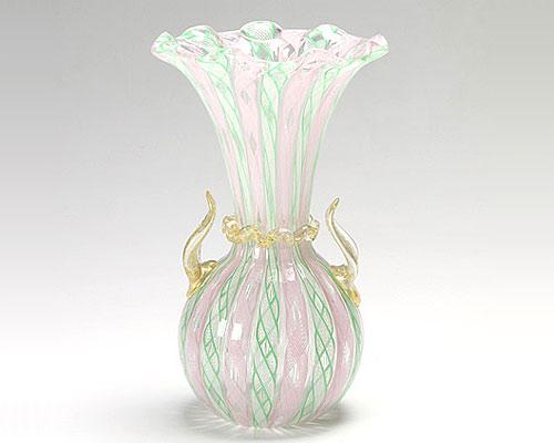 ベネチアガラス バラリン ベース フリル ピンク×グリーン