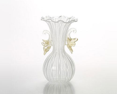 ベネチアガラス バラリン レース柄ベース ホワイト