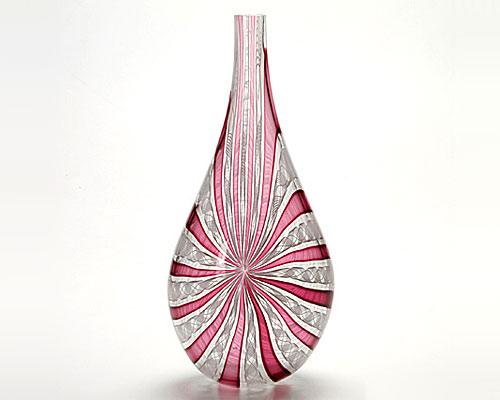 ベネチアガラス バラリン ベース 涙型 ホワイト×ルビー