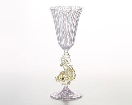ベネチアガラス ワイングラス ドルフィン脚付 ピンク×ターコイズ