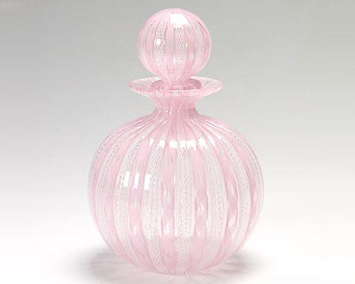 ベネチアガラス バラリン ボトル ラウンド ピンクレース