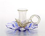 ベネチアガラス バラリン キャンドルホルダー ハンドル付 ブルー×ホワイト