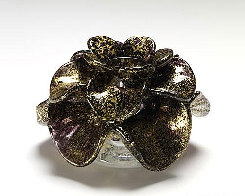 ベネチアガラス バラリン キャンドルホルダー ローズ ブロンズ