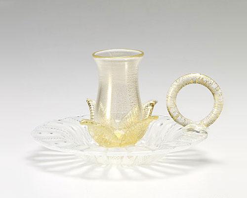 ベネチアガラス バラリン キャンドルホルダー ハンドル付 ホワイト