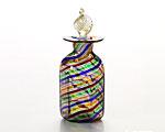 ベネチアガラス カンパネラ 香水瓶 六角 レインボー