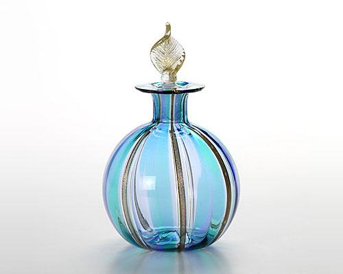 ベネチアガラス カンパネラ 香水瓶(M) ラウンド型 ブルー×ライトブルー
