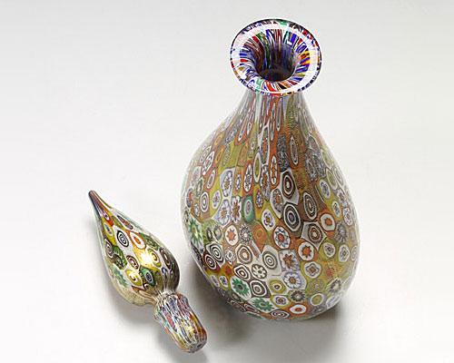 ベネチアガラス カンパネラ 蓋付ボトル モザイク 原色多彩