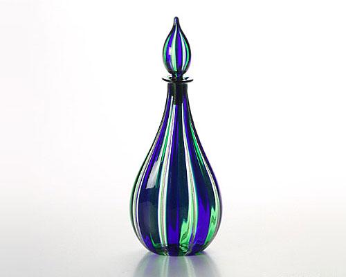 ベネチアガラス カンパネラ 蓋付ボトル ブルー×ライトグリーン
